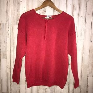 Vintage half button red sweater